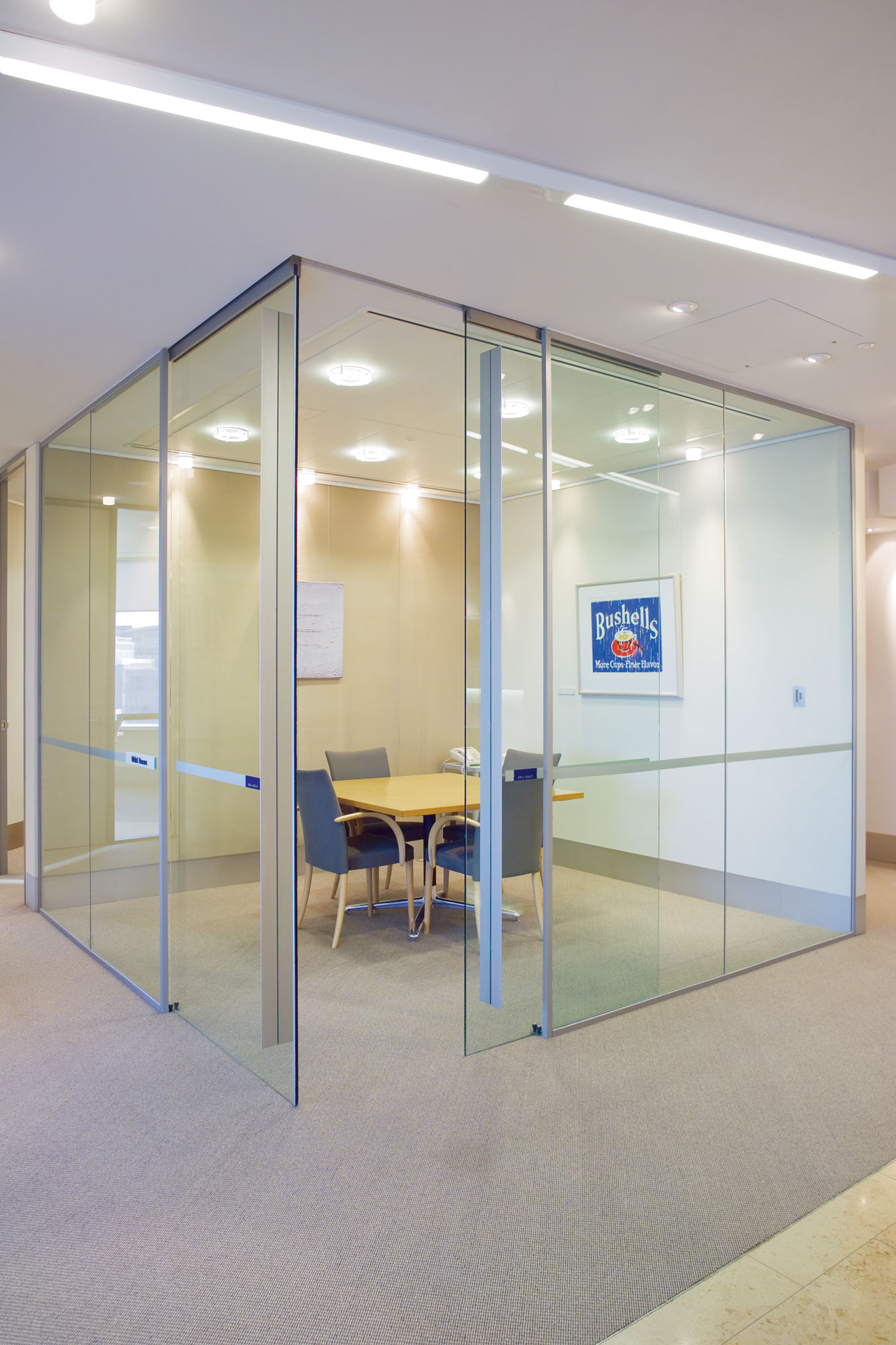 Partition track with frameless glass doors